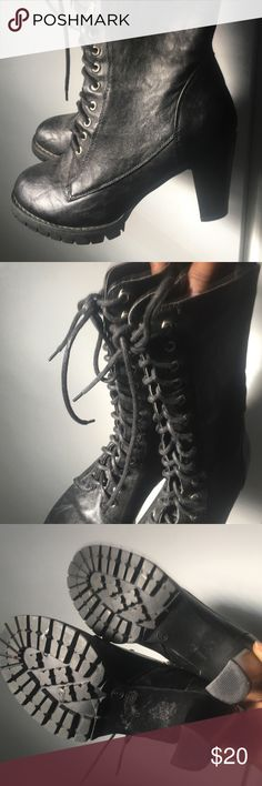 Lace up Boots Black lace up Boots with zipper. Only worn once. Great condition Forever 21 Shoes Lace Up Boots