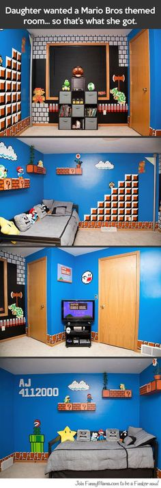 Funny pictures about Mario Bros themed room. Oh, and cool pics about Mario Bros themed room. Also, Mario Bros themed room. Super Mario Room, Town Country Haus, Video Game Rooms, Video Game Crafts, Video Game Decor, Gamer Room, Mario Brothers, Room Themes, Boy Room