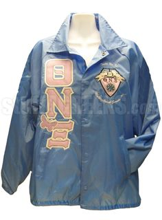 Theta Nu Xi Butterfly Greek Letter Line Jacket with Crest, Light Blue  Item Id: PRE-XJ-QNX-BUTTERFLY-LTR-NAME-INC-CREST-LBLU  Price:  $109.00