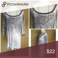 Slouchy burnout top Grey burnout cotton blend top is so slouchy and comfortable , wide boat neck, 3/4 sleeves nwot. Made in USA Tops
