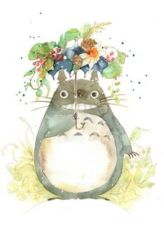 My Neighbor Neighbor / Tonari no Totoro (となりのトトロ) Hayao Miyazaki, Studio Ghibli Art, Studio Ghibli Movies, Anime Kunst, Anime Art, Howls Moving Castle, My Neighbor Totoro, Japanese Embroidery, Leprechaun
