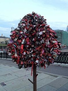 Love trees on Luzhkov Bridge, #Moscow  These love locks are a huge thing in Europe. They usually end up on bridges, but due to the fact they cause quite a bit of damage to the bridges they perch on they end up getting removed. In order to keep people from doing that lock trees have been put up in Moscow. Rumor has it Paris might do to the same.