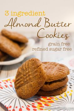 Gluten free, paleo-Just three ingredients to deliciously soft and chewy almond butter cookies. Recipe is naturally gluten free, refined sugar free and Paleo friendly. Almond Butter Cookies, Paleo Cookies, Gluten Free Cookies, Gluten Free Baking, Cookie Recipes, Almond Butter Snacks, Peanut Butter, Paleo Dessert, Healthy Desserts