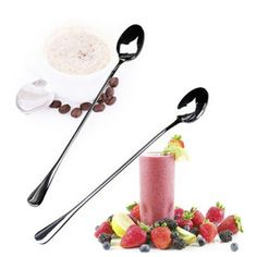 2017 Fashion 2PCS Long Handle Stainless Steel Tea Coffee Spoons Ice Cream Cutlery Dining Kitchen Tools