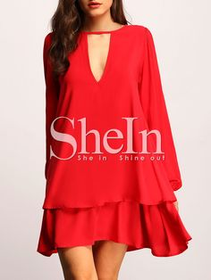 Buy it now. Red Cut Out Front Layer Hem Dress. Red Casual Cotton Blends Round Neck Long Sleeve Shift Short Plain Fabric has no stretch Fall Tunic Dresses. , vestidoinformal, casual, camiseta, playeros, informales, túnica, estilocamiseta, camisola, vestidodealgodón, vestidosdealgodón, verano, informal, playa, playero, capa, capas, vestidobabydoll, camisole, túnica, shift, pleat, pleated, drape, t-shape, daisy, foldedshoulder, summer, loosefit, tunictop, swing, day, offtheshoulder, smock, p...
