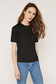 Semi-Sheer Stretch Knit Tee - Tops - 2000165039 - Forever 21 EU English