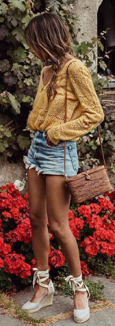 #summer #outfits  Picking Flowers In @soludos  // Yellow Knit + Bleached Denim Short + White Lace-up Pumps