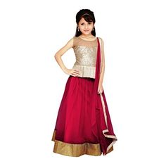 Najara Fashion fancy material traditional semi-stitched lahenga choli - http://www.zazva.com/shop/kids-clothing-accesories/najara-fashion-fancy-material-traditional-semi-stitched-lahenga-choli/ Lehenga Choli Material Age : 3-4 Years Golden and Maroon