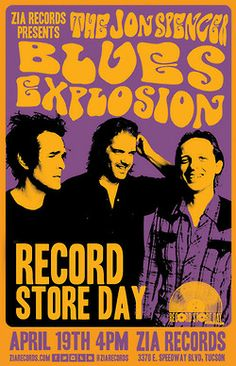 """Tucson, can you feel it? It's a BLUES EXPLOSION. That's right – The Jon Spencer Blues Explosion are performing at Zia Records Speedway (3370E. Speedway) on Record Store Day at 4 PM. Pick up the new JSBX RSD single, a limited edition 12″ single of their Beastie Boys/ Link Wray mash-up. """"She's On It/Jack The Ripper,"""" and grab a limited-specially designed JSBX/Zia Records print. Then, catch the band live at the storied Hotel Congress."""
