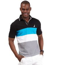 Get set for summer with this lightweight cotton jersey polo, outfitted with a stand-out combo of stripes and colorblocking.