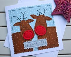 Couples Christmas Card - Handmade - Machine Embroidered - Reindeer Couple - With all my love this Christmas!