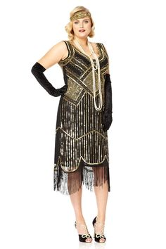 UK26 US22 AUS26 Paris Black Gold Vintage inspired 20s Flapper Great Gatsby Charleston Downton Abbey Bridesmaid Wedding Guest Dress Hand Made