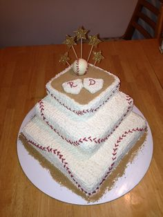 Baseball Themed Wedding Shower Cake