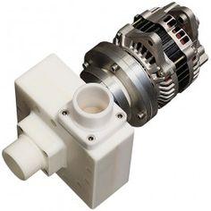 """Miniturbinas hidraulicas de 2"""" que se regulan automáticamente para trabajar a distintas tensiones. Monitor de batería para control de turbina."""