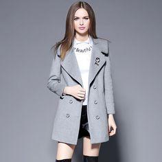 New Winter Coat Women Wide Lapel Wool Blend Coat Medium long Trench Coat plus size thicken Outwear Wool Coat Women 1739