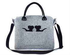 Puppy handbag Gray bag Felt purse Bag for women Big bag Felt bag Designer handbag Felt shoulder bag by Torebeczkowo on Etsy
