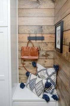 """In a 'Fixer Upper' episode titled """"All American Farmhouse"""", Chip and Joanna Gaines help a wounded war veteran and his girlfriend turn an odd conglomeration of house-and-barn into a stunning country retreat. Decor, House, Shiplap, Interior, Ship Lap Walls, Fixer Upper, Home Decor, Rustic Kitchen, Stained Shiplap"""