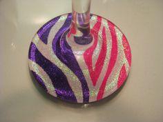 Glittery+HandPainted+Zebra+Print+Wine+Glasses+by+xBeeUnique,+$10.00