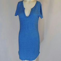 Joe's Jeans Azure Blue Linen T-Shirt Dress Super hip, stylish  weathered azure blue linen t-shirt dress by Joe's Jeans. Round, inset v neckline, short sleeves with raw-edged cuffs, body-skimming silhouette and a curved hem. Some purposeful fading throughout. 100% linen. Color: Azure Blue. Excellent condition with no noted flaws. No trades, no PP. Joe's Jeans Dresses