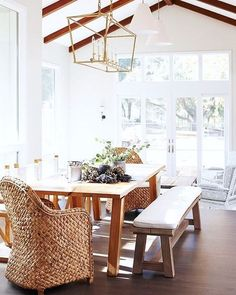 WEBSTA @ wshome - A beautiful sunlit dining room perfects the mix and match dining chair look with not one, not two, but three different seating options!  via @ruemagazine, photography by Sean Dagen, Interior design by Cecy J Interiors