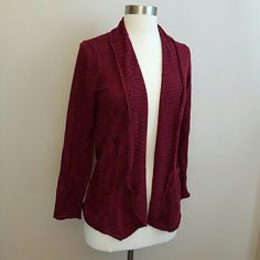 Heathered dark red shawl collar open cardigan Open cardigan with a rolled shawl collar.  Heathered dark red color.  Ruched pockets.  Very, very soft.  56% acrylic, 44% cotton.  Petite medium. Sweaters Cardigans