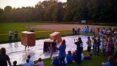 A team relay game where students run down a slippery tarp while covered in a moving box. Students get really wet, really messy, and it usually turns into chaos …which means it's the perfect g… Youth Ministry Games, Youth Group Activities, Youth Games, Activities For Teens, Games For Teens, Youth Groups, Youth Group Events, Ministry Ideas, Women's Ministry