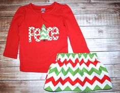 Girls Green and Red Chevron Christmas Skirt by LittleBunnySueSue