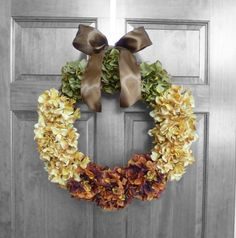 Fall Autumn Hydrangea Wreath Home Decor Decoration Door  Gift Wedding Orange Green Yellow