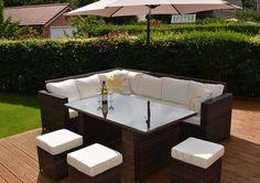 Granada Garden Rattan Corner Sofa Dining Set With Table Black