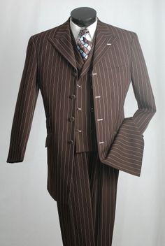 Vittorio St. Angelo Men's 3 Piece Fashion Suit - Bold Pinstripe - Clothing Connection Online
