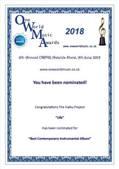 Life is nominated Best contemporary instrumental album Thank you to The jury. Instrumental, Haiku, Project Life, Congratulations, Album, Contemporary, Personalized Items, Projects, Cards