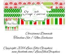 Christmas Damask Facebook Timeline  Banner & by LuziEllisGraphics Printed Ribbon, Facebook Timeline, Fb Covers, Collage Sheet, Damask, Circles, Banners, Avatar, Custom Design