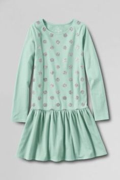 Girls' Long Sleeve Holiday Sparkle Jersey Dress from Lands' End red little girl small