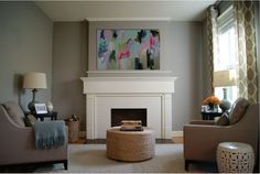 Small living room. Ashleigh Weatherill Interior Design.  Blue. Gray. Fireplace.