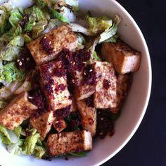 Pan-seared tofu, napa, chile & Sichuan peppercorn mix atop leftover bulgur pilaf. Tofu lunch bowl.