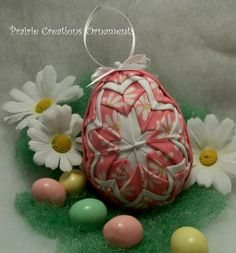 Quilted Egg Ornament with Cross