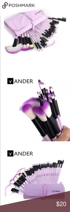 Purple Makeup Brush Set, 32 Pieces I love how it glamorizes my makeup table.  Beautiful color. Makeup Brushes & Tools
