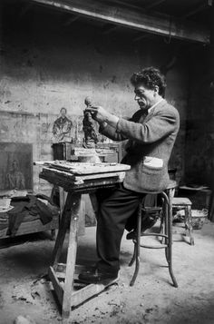 """Giacometti in his studio"" 1954, photo by Swiss-French photographer SABINE WEISS (born 1924)"