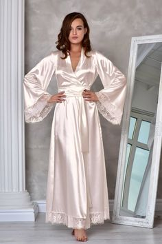 Light ivory long bridal robe Wedding kimono lace robe Bridal dressing gown Long robes for women Wedding robes for bride Maxi bridesmaid robe Before ordering, look the delivery time! This is the gorgeous, extremely beautiful lace bridal robe, made of Satin Dressing Gown, Kimono Dressing Gown, Lace Bridal Robe, Bridal Robes, Bridal Gown, Ropa Interior Babydoll, Pijamas Women, Wedding Kimono, Bridesmaid Robes