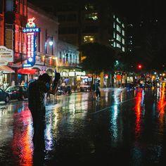 Austin, Texas:  6th Street at night in the rain!