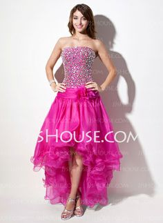 Prom Dresses - $164.99 - A-Line/Princess Strapless Asymmetrical Organza Prom Dress With Beading (018022556) http://jjshouse.com/A-Line-Princess-Strapless-Asymmetrical-Organza-Prom-Dress-With-Beading-018022556-g22556