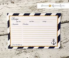 Recipe Cards, Navy and Gold (PRINTED FILE) by DesignbyKristinLynn on Etsy
