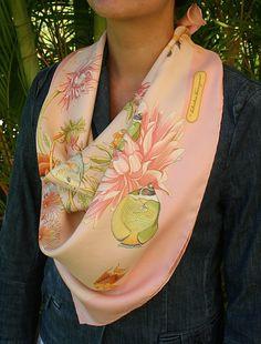 Vintage Salvatore Ferragamo aquatic pink pastel silk scarf. Gorgeous sea life printed. 100% silk Excellent pre-owned condition! Measures: 35