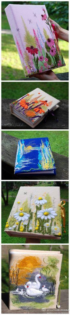 【羊毛毡DIY书本封面】 用羊毛毡来DIY出漂亮的书本封面,是不是超美的说