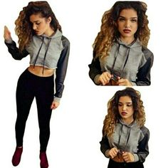 Women Hoodies Sexy Long Sleeve Crop Top PU Leather Women Hoodies Sexy Long Sleeve Crop Top PU Leather Patchwork Streetwear Short Tracksuits Jogging Sweatshirts Pullovers  AVAILABLE  IN SMALL MEDIUM LARGE AND XL Sweaters