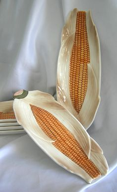 Set of 6 Ceramic Corn on the Cob Serving Dishes by RetrofitGallery, $18.00