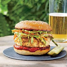 Carolina Chicken Burgers with Ancho Slaw - Our Best Grilled Burgers - Southern Living