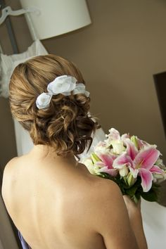 Wedding Hair- replace the flowers with sparkly comb