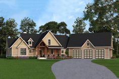 Craftsman Style House Plan - 3 Beds 2.5 Baths 2666 Sq/Ft Plan #119-366 Exterior - Front Elevation - Houseplans.com