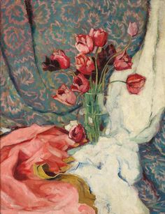 Anton Lutz (Austrian, 1894-1992), Tulpen im Glaskrug [Tulips in a glass jar], 1930s. Oil on canvas, 90 x 70 cm.